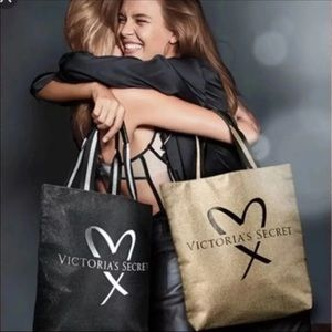 New Victoria's Secret VS Gold Sparkle Tote Bag